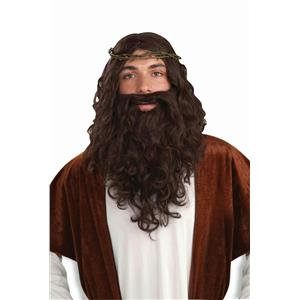 Biblical Times Jesus Costume Wig Beard and Crown of Thorns Kit