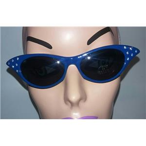 Blue 1950's Cateye Cat Eye Glasses with Rhinestones Dark Lens Sunglasses