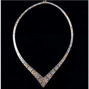 Stunning 18k Yellow / White / Rose Gold Three-Tone Etched Chain Necklace 28.4g