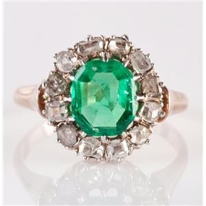 """Vintage 1880's 14k Yellow Gold """"AAA"""" Emerald & Diamond Cocktail Ring 3.12ctw"""