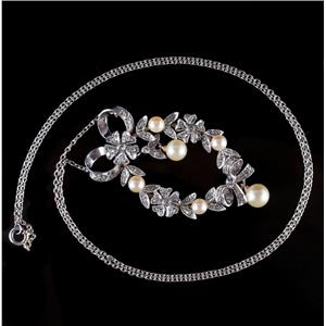 Vintage 1900's Platinum & 14k Rose Gold Pearl & Diamond Floral Necklace .80ctw