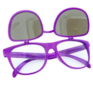 80s Purple Mirror Lens Flip Up to Clear Lens Blues Brother Glasses Eyewear