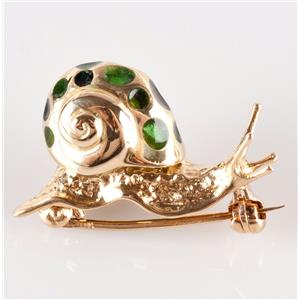 18k Yellow Gold Snail Pin W/ Green Enamel Accents