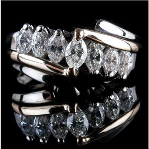 14k White & Yellow Gold Two-Tone Marquise Cut Diamond Cocktail Ring .80ctw