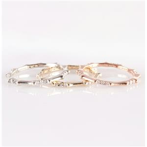14k Yellow / White / Rose Gold Round Cut Diamond Stackable Three Band Set .54ctw