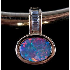 18k Yellow Gold Lightening Ridge Black Opal & Diamond Pendant W/ 14k Omega Chain