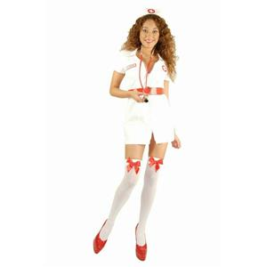 Charades Women's Double Zip Nurse Sexy Adult Costume Size Small 5-7