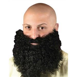 Fun World Black Big & Curly Bushy Mustache and Beard Facial Hair Set