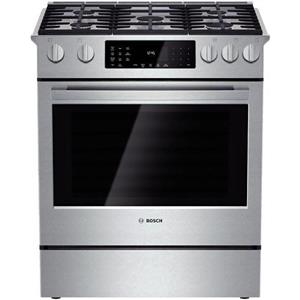 """Bosch Benchmark 30"""" 5 Sealed Burners Slide-in Stainless Dual-Fuel Range HDIP054U"""