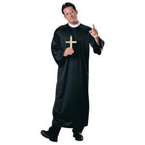 Rubie's Mens Adult Priest Black Costume Robe with Attached Clerical Collar 55020