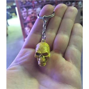 "1"" Rubber Skull Skeleton Head Key Chain Ring"