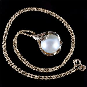 """14k Yellow Gold Round Cabochon Cut Cultured Mabe Pearl Pendant W/ 18"""" Chain"""