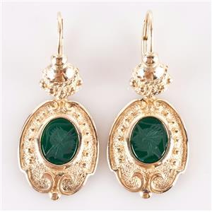 14k Yellow Gold Oval Intaglio Cut Lab Emerald Intaglio Dangle Earrings