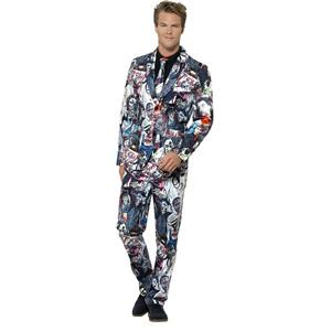 Smiffy's Men's Zombie Print Suit Jacket Trousers and Tie Adult Costume Medium