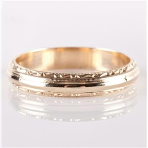Vintage 1930's 14k Yellow Gold Etched Wedding / Anniversary Band 4.48g