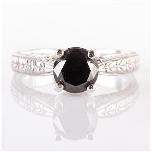14k White Gold Round Cut Black Diamond Solitaire Engagement Ring 1.10ct