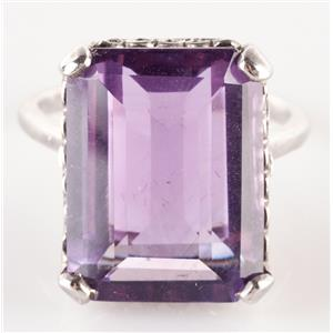 Vintage 1920's Platinum Emerald Cut Amethyst Solitaire Cocktail Ring 7.5ct