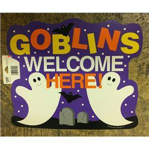 Goblins Welcome Here Halloween Ghost Bats Cardstock Wall Window Decoration Decor