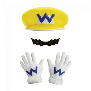 Disguise Super Mario Bros. Wario CHILD Costume Kit One Size Gloves Hat Mustache