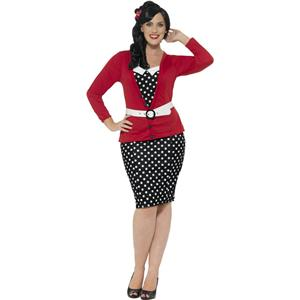 Smiffy's Women's Curves 50's PIn Up Polka Dot Adult Retro Costume Large 14-16