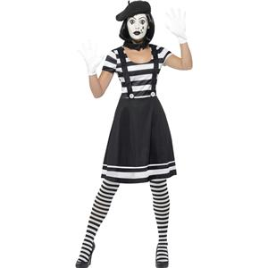 Smiffy's Women's Black and White Lady Mime Artist Adult Costume Large 14-16