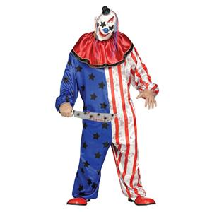 Fun World Men's Plus Size Evil Clown Costume Jumpsuit and Mask up to 300 lbs.