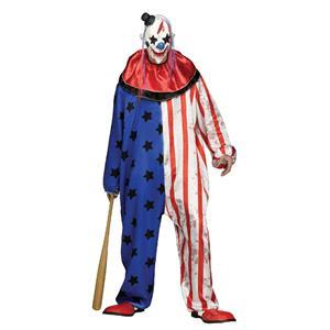 Fun World Evil Clown Adult Men's Costume Jumpsuit and Mask Standard Size