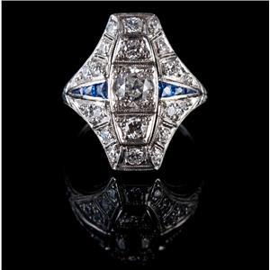 Vintage 1920's Platinum Round Cut Diamond & Sapphire Cocktail Ring 1.36ctw