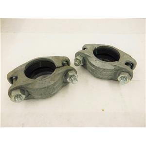 (2) Victaulic 2-60.3 Zero Flex Style 07 Galvanized Rigid Gasket Clamp Coupling
