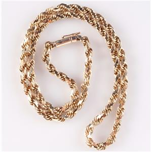 "14k Yellow Gold Twisted Rope Chain W/ Barrel Clasp 18"" Length"