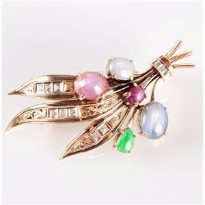 Vintage 14k Yellow Gold Star Sapphire / Star Ruby / Jade / Diamond Brooch