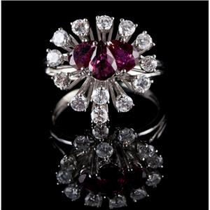 Vintage 1960's 14k White Gold Pear Cut Ruby & Diamond Cocktail Ring 2.28ctw