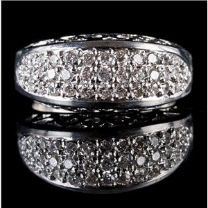 Stunning .950 Platinum Round Cut Diamond Cluster Cocktail Ring .925ctw