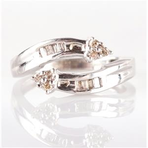 10k White Gold Round & Tapered Baguette Cut Diamond Ring .25ctw