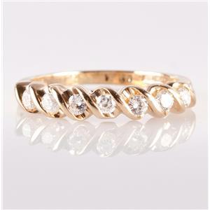 14k Yellow Gold Round Cut Seven-Stone Diamond Wedding / Anniversary Band .28ctw