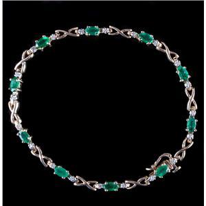 10k Yellow Gold Oval Cut Emerald & Round Cut Diamond Tennis Bracelet 2.65ctw