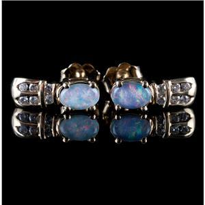 10k Yellow Gold Oval Cut Opal & Diamond Stud Earrings .18ctw