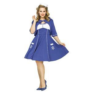 Fun World Women's Sweet Sailin' Plus Size Sailor Adult Costume 1X 16-20