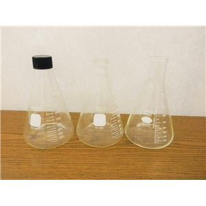Pyrex Threaded and Kimax Open Erlenmeyer Flask 1000mL (Lot of 3)