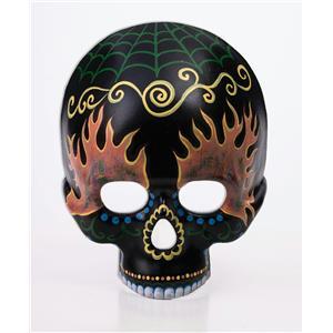 Black Half Skeleton Day of the Dead Skull Mask with Designs
