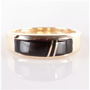 14k Yellow Gold Custom Made Inlay Cut Onyx Ring 6.3g Size 12