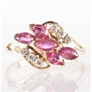 14k Yellow Gold Marquise Cut Ruby & Round Cut Diamond Cocktail Ring 1.32ctw