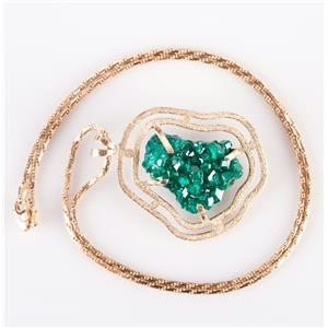 """14k Yellow Gold Natural Cut Dioptase Solitaire Pendant Necklace W/ 20"""" Chain"""