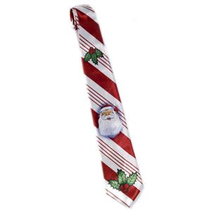Mens Red and White Striped Candy Cane Christmas Santa Neck Tie