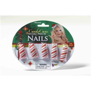 Set of 10 Red White Striped Candy Cane Reusable Press On Nails Christmas Fun