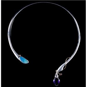 Unique Sterling Silver Cabochon Cut Opal / Amethyst / Ruby Necklace 13.38ctw