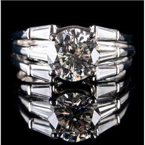 Stunning Platinum Round Cut Diamond Solitaire Engagement Ring W/ Accents 3.89ctw