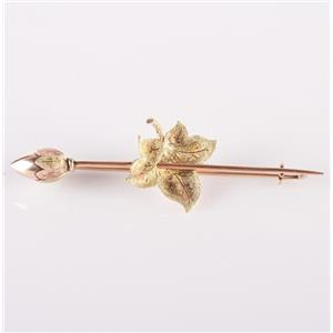 Vintage 1870's 14k Rose / Yellow / Green Gold Leaf And Bud Pin Brooch