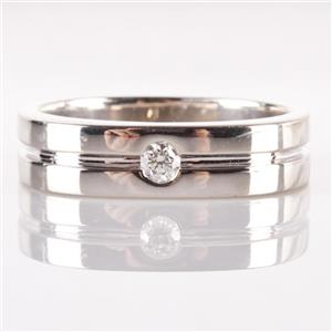 14k White Gold Round Cut Diamond Men's Wedding Band / Ring .12ct