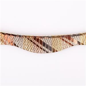 18k Yellow / White / Rose Gold Tri-Color Fringe Style Omega Chain Necklace 31.3g